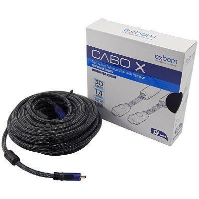 CABO HDMI x HDMI 15 METROS 1.4 3D FULL HD EXBOM