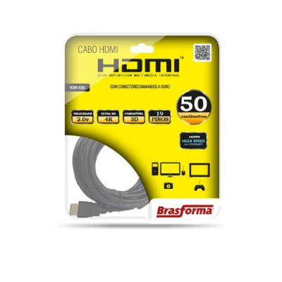 CABO HDMI 2.0 4K 3D  HIGH SPEED COM ETHERNET 0,50 CM BRASFORMA