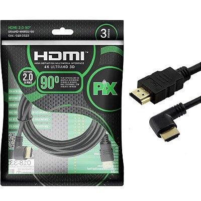 CABO HDMI 2.0 4K PIX PINO 90 GRAUS 2 METROS 0183322