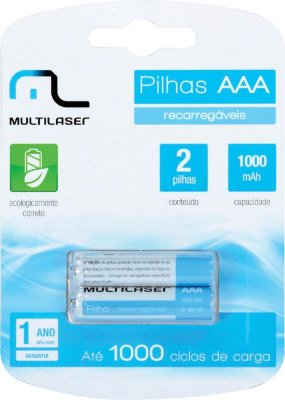 PILHA RECARREGAVEL MULTILASER  AAA 1000MAH CB051 1,2V NI-MH - BLISTER COM 2