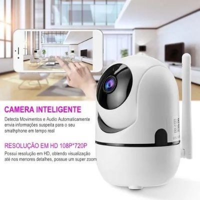 Câmera IP Interna Visão Noturna Varredura Automática  Wireless 1080p WI FI Giratória 355 graus,Vertical:110 graus
