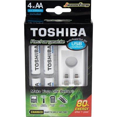 Carregador de Pilha  Toshiba USB p/2 pilhas AA/AAA com 4 pilhas AA 2.000 mAh