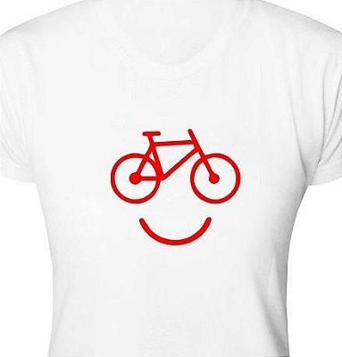 ST100 - Camiseta - Estampa Bike Smile em Recorte a Laser