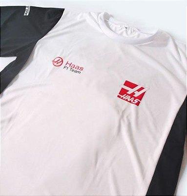 FR070 - Camiseta Bicolor Dry Fit - Estampa Equipe HAAS F1
