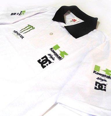 ES029 - Camisa Pólo Dry Fit - Estampa Kawazaki - Moto GP