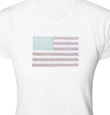 ST014 - Baby Look - Estampa Bandeira USA em Strass