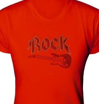 ST021 - Baby Look - Estampa Guitarra Rock em Strass