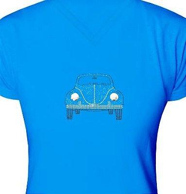 ST025 - Baby Look - Estampa Fusca Azul em Strass