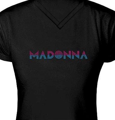 ST094 - Baby Look - Estampa Madonna em Strass