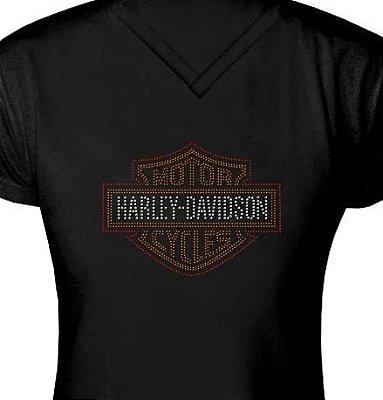 ST049 - Baby Look - Estampa Harley Davidson em Strass