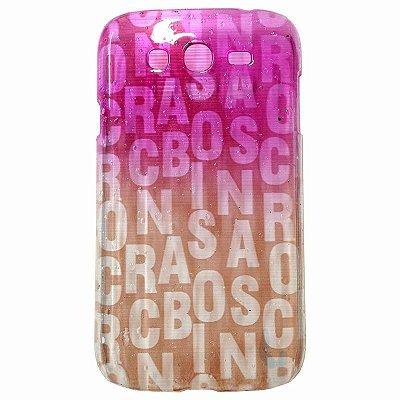 Capa Case Samsung Gran Duos ( I9080 / I9082 ) Rain Drop Letras Pink