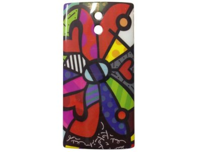Capa Case Sony Xperia P Romero Britto Multi Color FLower .