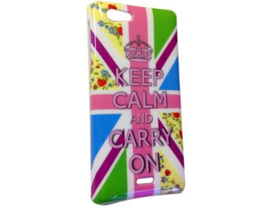 Capa Case Sony Xperia J Keep Calm And Carry On .