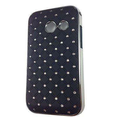 Capa Case Brilho Preto com Strass para Samsung Galaxy Ace Duos S6802