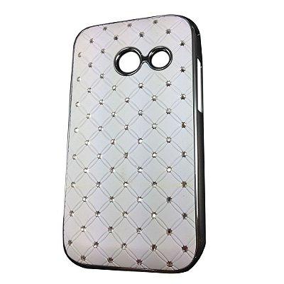 Capa Case Brilho Branco com Strass para Samsung Galaxy Ace Duos S6802