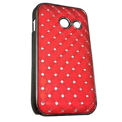 Capa Brilho Vermelho com Strass para Galaxy Ace Duos S6802