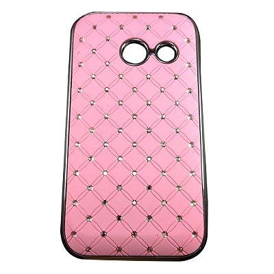 Capa Case Brilho Rosa com Strass para Samsung Galaxy Ace Duos S6802