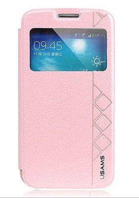Capa Case USAMS Flip de Couro para Samsung Galaxy S5 - Rosa