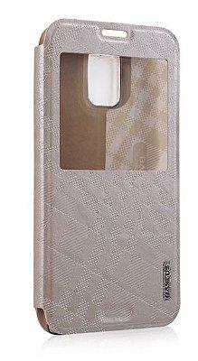 Capa Case Bauseus Flip de Couro para Samsung Galaxy S5 - Dourada