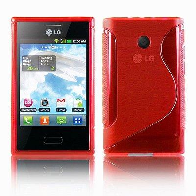 Capa Case S Type de TPU Premium para LG Optimus L3 ( E400)  - Vermelho