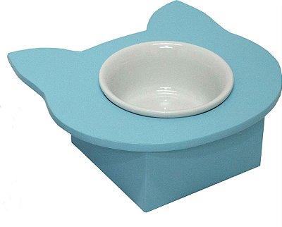 Comedouro Cara de Gato Azul