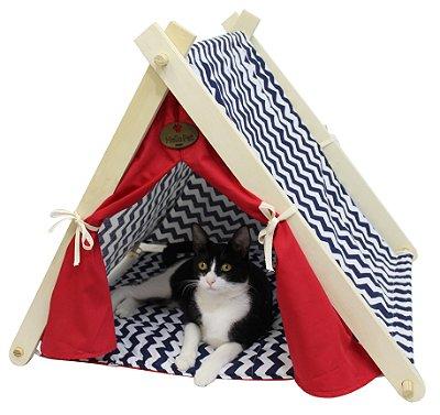 Cabaninha para Cães e Gatos - Marinho/Vermelho
