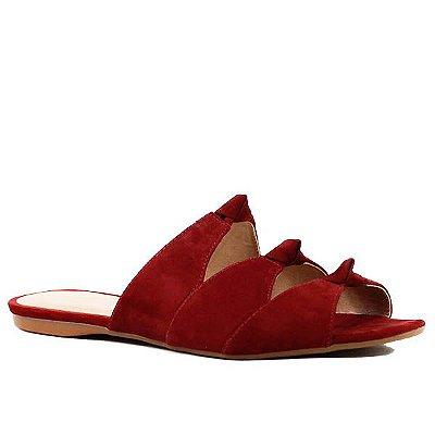 Rasteira Balaia em couro MOD161 - Vermelho