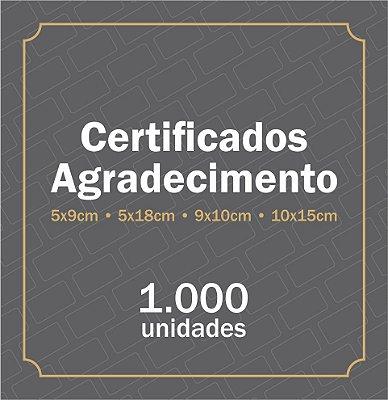 1.000 Certificado de garantia | Cartão fidelidade | Cartão agradecimento