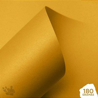 Papel Perolizado - Amarelo - Canário - 180g - A4 - 210x297mm