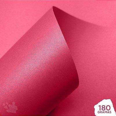 Papel Perolizado - Pink - Chiclete - 180g - A4 - 210x297mm