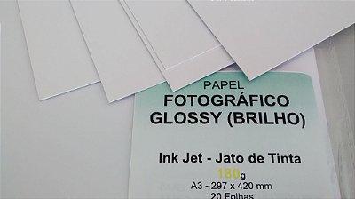 Papel Fotográfico Brilho/Glossy - 180g - 20 Folhas - Jato de Tinta - A3 - 297x420mm