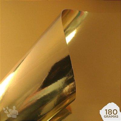 Papel Laminado - Lamicote - Dourado - 180g - A4 - 210x297mm
