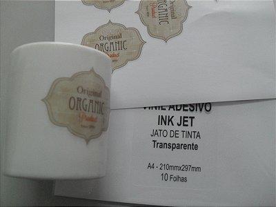 Vinil Adesivo Transparente -  Jato de Tinta - A4 - 210x297mm