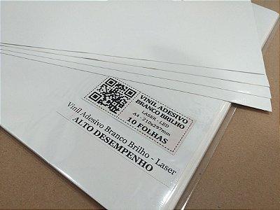 Vinil Adesivo Branco Brilho - Laser - Alto Desempenho - A4 - 210x297mm