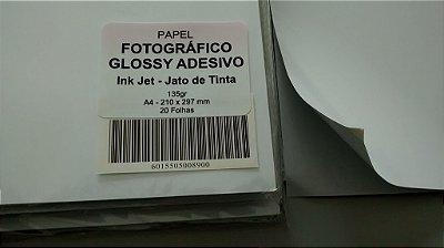 Papel Fotográfico Adesivo Brilho/Glossy - 135g - 20 Folhas - Jato de Tinta - A4 - 210x297mm