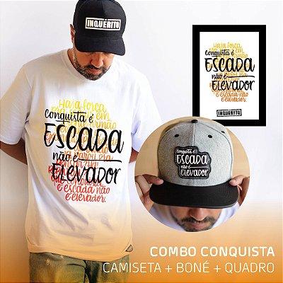 Combo Conquista   Camiseta + Boné + Quadro