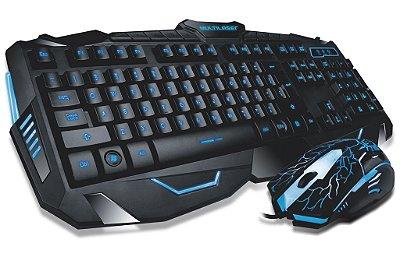 Combo Teclado E Mouse Gamer Com Fio Detalhes Azuis - Multilaser