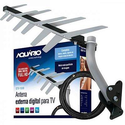 Antena externa digital para TV Com Cabo 10 Metros DTV-1500 - Aquário