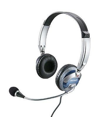 Fone De Ouvido Headset Com Microfone Profissional Azul Prata - Multilaser