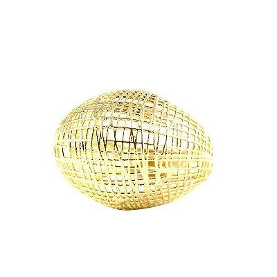 Anel Dourado Oval Semi Joias