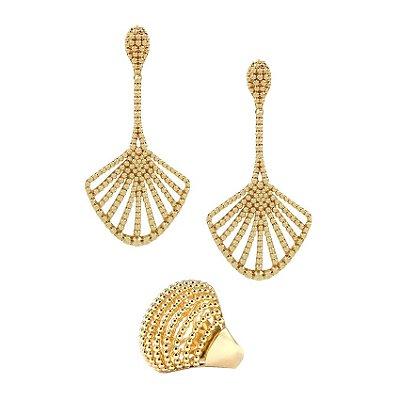 Conjunto com Relevo de Bolinhas Dourado Semi joias
