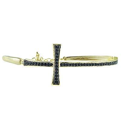 Bracelete de Cruz Dourado com Zircônia