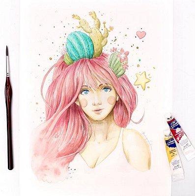 Ilustração Garota Cactos