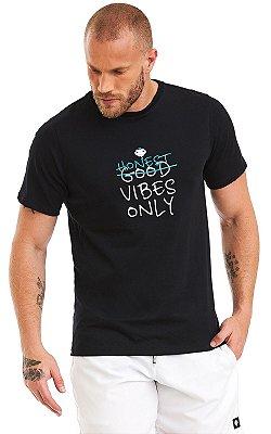 Camiseta Masculina Malha Algodão Estampada - Honest Vibes Only