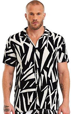 Camisa Masculina Estampada Manga Curta Viscose - Animal Print