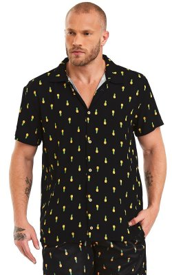 Camisa Masculina Estampada Manga Curta Viscose - Abacaxi