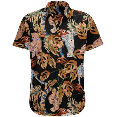 Camisa Masculina Estampada Manga Curta Viscose - Cheetah