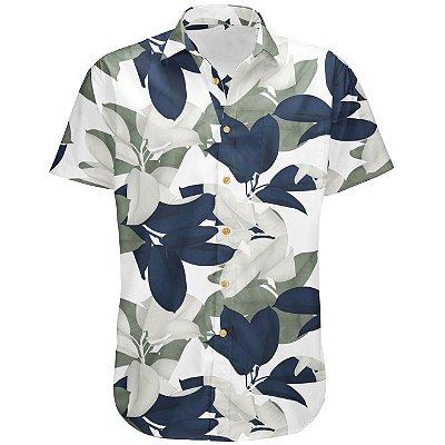 Camisa Masculina Estampada Manga Curta Viscose - Botanical
