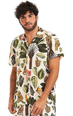 Camisa Masculina Estampada Manga Curta Viscose - Bengal
