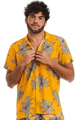 Camisa Masculina Estampada Manga Curta Viscose - Yellow